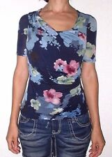 EUC Womens XS Anthropologie DELETTA Blue Pink Floral Slouchy Neck Top Blouse
