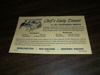 MARCH 1967 CB&Q D&RGW WESTERN PACIFIC CALIFORNIA ZEPHYR CHEF'S EARLY DINNER CARD
