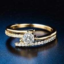 Size M-R Women White Sapphire Crystal Gold Filled Eternity Engagement Ring Lot
