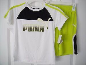 PUMA NWT Boys 2 PC Tee Top Shirt T-Shirt Shorts 100% Polyester White Green 5