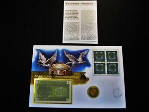 """Münz- und Banknotenbrief  Kasachstan  """"Nationalsymbol""""  mit Münze + Geldschein"""