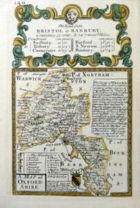 OXFORDSHIRE OXFORD BANBURY WOODSTOCK BY EMANUEL BOWEN c1720 GENUINE ANTIQUE MAP