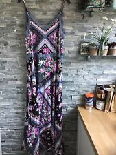 Beautiful Boho Inspired Free People Stevie Maxi Dress Black Pink Grey 10-12