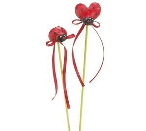 "Burton & Burton Ladybug Asst Pick, 2 Red Wood Flower Pot Decor Stakes 9"" High"