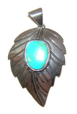 TAXCO .980 Sterling Silver Leaf Pendant w/Turquoise Handcrafted from Mexico