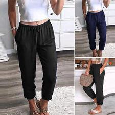 UK Women's Elastic Waist Pants Plain Trousers Cargo Pants Solid Casual Plus Size