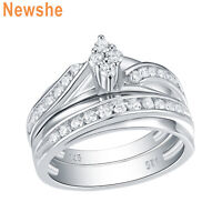 Newshe Engagement Wedding Ring Set For Women 925 Sterling Silver Round Cz 5-10