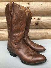 Ariat 15724 Brown Leather Pull On Embroidered Western Cowboy Boots Womens 6 B