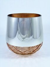 Large Round Peach Glass Vase Silver Color Top Faceted Diamond Quilt Bottom