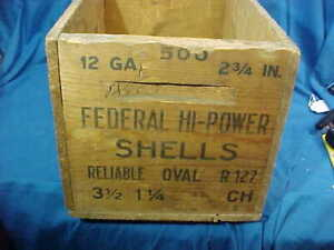 Vintage FEDERAL HI POWER Wood 12ga SHELL ADVERTISING Shipping BOX