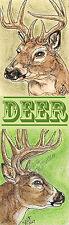 Deer buck Whitetail Art Bookmark PRINT Loberg Wild animal Wildlife nature EBSQ