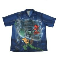 Vintage Graphic Anime Shirt | Men's L | Button Retro Flame Fancy Collar Chinese