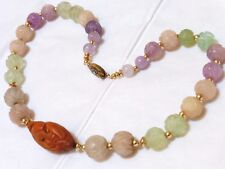 VINTAGE CHINESE QUARTZ, AMETHYST, JADE, NUT CARVED BEADS NECKLACE, Silver Clasp