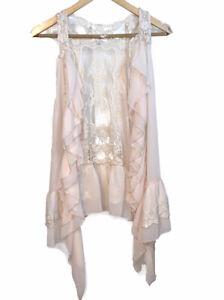Womens Umgee Sleeveless Crochet Cream Colored Vest Size S/M