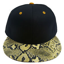 SNAKE SKIN PLAIN (BLACK/ORANGE) COTTON SNAPBACK CAP
