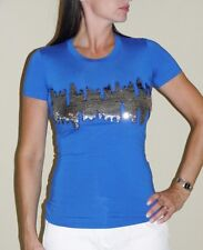 BLUMARINE Blue Sequin Detail Fitted T-Shirt Top 38 NWT