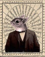 Steampunk Squirrel Art Print 8 x 10 - Victorian on Old Map Image Version Two