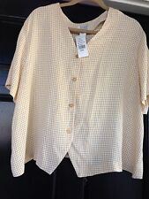 Nwt Maggie Barnes Petites Yellow Checked Button Down Top Size 22WP $39.99