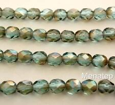 25 6 mm Czech Glass Firepolish Beads: Aquamarine - Celsian