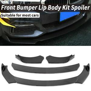 Carbon Fiber Look Front Bumper Lip Splitter Spoiler Body Kit Adjustable Angle