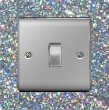 Single Light Switch / Socket Surround Acrylic Finger Plate Silver Sequin