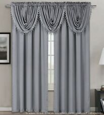 5PC COMPLETE SET SILK LINEN TEXTURE ROOM PANEL VALANCE WINDOW CURTAIN DRAPE 84""