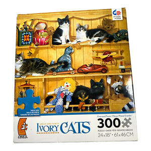 Ceaco Lesley Anne Ivory Cats Among The Toys 300 Oversized Pieces Puzzle Complete