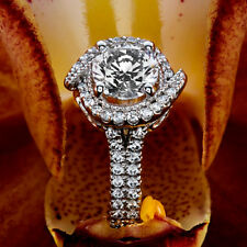 Solitaire Halo 1.30 Carat Round Cut Diamond H/VS Engagement Ring 14K White Gold