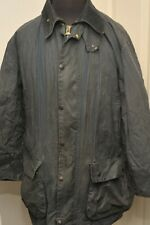 "VERY VINTAGE BARBOUR BORDER A205 WAX COTTON JACKET 44"" / 112CM BLUE OUTDOORS"