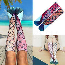 Fashion 3D Womens Girls Mermaid Print Knee Socks High Stockings Cosplay Socks