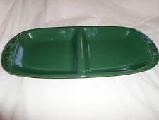 Longaberger Pottery Woven Traditions Ivy Green Divided Tray Dish