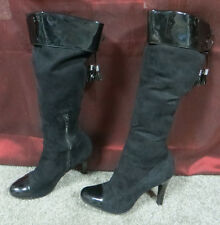 BCBGirls Black Stretch Fabric Fashion Knee-High Boots w/Patent Leather Trim, 6.5
