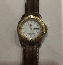New in pack Qantas collectable watch with brown leather band, vintage 1990s logo