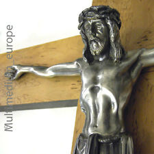 Art Deco 30er Jahre Holz Kreuz mit Jesus Christus in Metal l wood cross christ