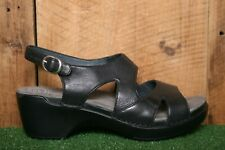 DANSKO 'Scarlett' Black Leather Wedge Heel Sandals EUR 41 | Approx. US 10.5