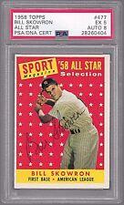 1958 Topps All Star Bill Moose Skowron #477 New York Yankees - PSA 5 EX Auto 8