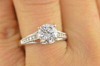 2Ct Round Cut Diamond Milgrain Solitaire Engagement Ring 14K White Gold Finish