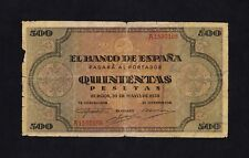 F.C. 500 PESETAS 1938 , SERIE A , B/C- , ROTURA CON FALTA DE PAPEL EN LATERAL IZ