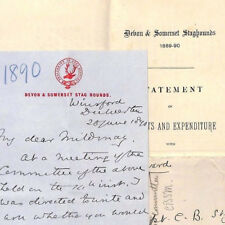 MS3021 1890 GB HUNTING *Devon & Somerset Stag Hounds* Letter Document & Cover{3}