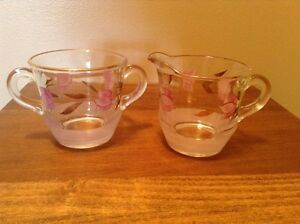 Beautiful hand painted pink floral Frosted vintage glass sugar and creamer