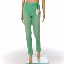 LOVE MOSCHINO Jeans Bright Green Distressed Cotton Straight Leg Size 33 FX 617