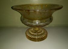 Antique Egermann Amber To Clear Etched  Compote Footed Pedestal TAZZA