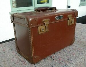 Vintage Brown Faux Leather Instrument Carry Case Medical Engineering Box Prop