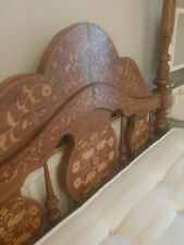 More details for inlaid, beautiful antique four poster bed frame