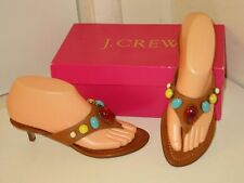 J. Crew Paola Leather Jeweled Beaded Thongs Kitten Heels Sandals Shoes Womens 6