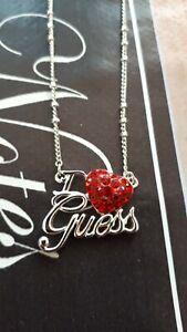 Guess Kette I love Guess Herz Schriftzug Schmucksteine silber rot