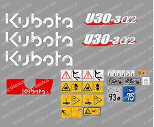 Kubota u30-3a2 Mini Gräber komplett Abziehbild Satz mit Sicherheit Warnzeichen