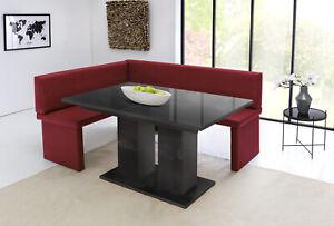 MyStyleWood Eckbank Marta Rot mit Tisch Küchenbank Sitzecke 128x168 Links NEU