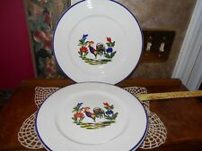 Varages France RARE Provence Set of 2 Rooster Coq Faience Pottery Dinner Plates