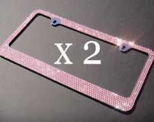 2 PCS Bling 7 Rows PINK Crystal Metal License Plate Frame+ Free Caps
